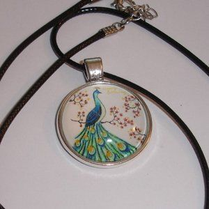 Peacock Glass dome necklace 20 inch cord
